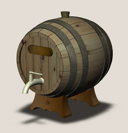 basement: Wooden barrel with a tap on the legs and the plate isolated