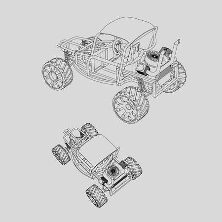 Homemade car picture isolated buggy contour on a white background