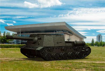 artillery: Panzer self-propelled artillery unit drawing on building background sky field Illustration