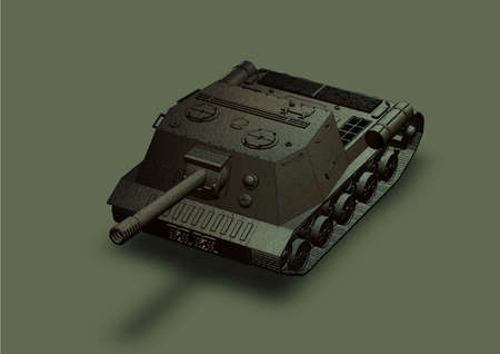 Panzer: Panzer self-propelled artillery unit drawing on a grey background isolated