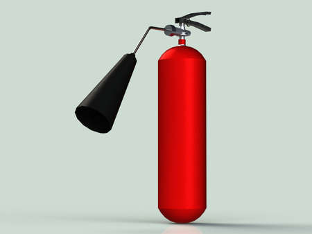 isolated on gray: Red fire extinguisher with black pipe small powder isolated gray background