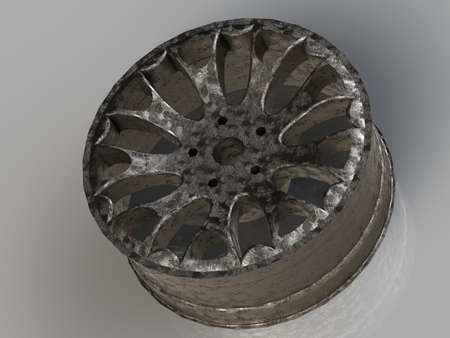 titanium: Automobile cast titanium disk isolated on a gray background
