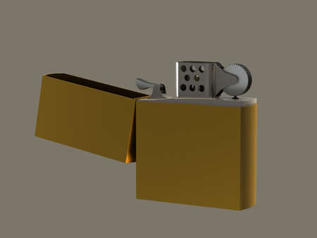 Petrol Lighter gold open lid isolated gray background photo