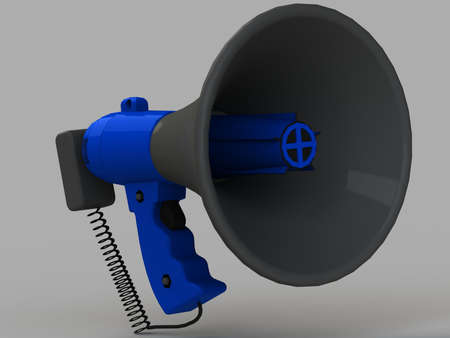 isolated on gray: blue plastic bullhorn with a microphone and a horn handle isolated gray background