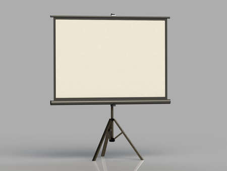 White screen on a tripod projector deployed gray background
