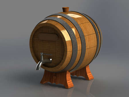 wood staves: wooden barrel for alcoholic with an iron crane gray background Stock Photo