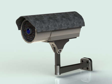 casing: Surveillance camera mount in the iron casing front view isolated