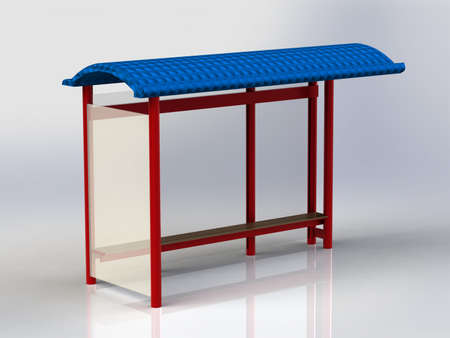 bus stop: Bus Stop with billboards red with blue roof insulated Stock Photo