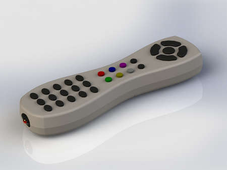 infrared: Remote control infrared gray with colored buttons isolated