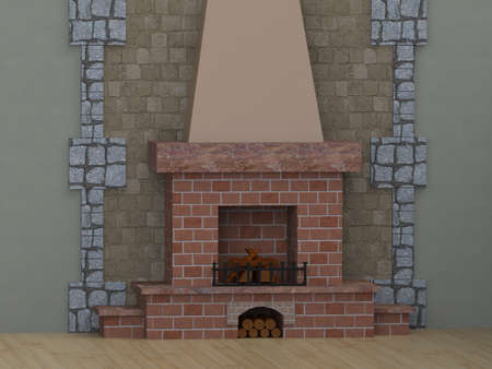 stone fireplace: room with fireplace with shelves of brick wood do not burn Stock Photo