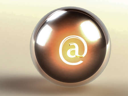 familiar: iron ball in glass sphere with familiar Internet address on a gray background