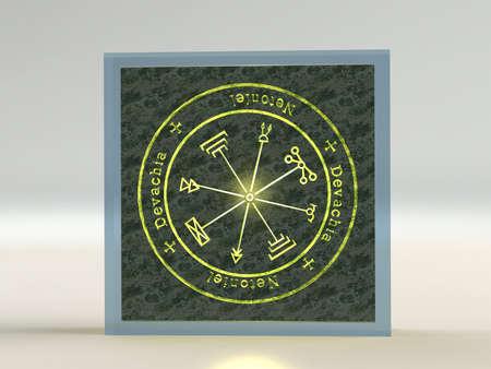 talism�n: Esp�ritus Talism�n de J�piter el regente de los tesoros brillan en una roca en el cristal