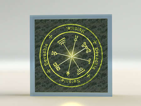 satanism: Talisman spirits of Jupiter the ruler of the treasures shine on a rock in the glass