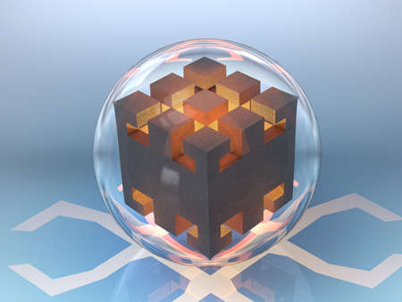 fragmentation: abstract drawing cube in a glass bowl in the fire high temperature glow orange shadow