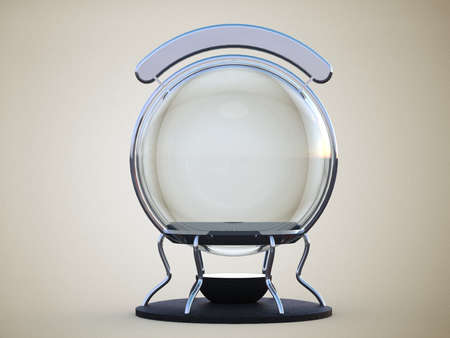 foretell: glass sphere on an iron stand with backlit sign isolated on pure white background
