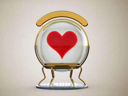 foretell: glass sphere with a heart in a gold frame on a stand with a clean sign isolated on a gray background