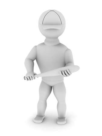 wallop: White man in a baseball cap with a bat in his hands on a white background