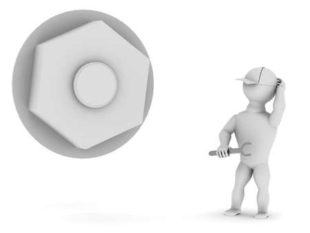 tightening: White man with a tool near the big nut on a white background Stock Photo