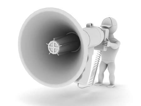 loud speaker: White man speaks to a large megaphone on a white background