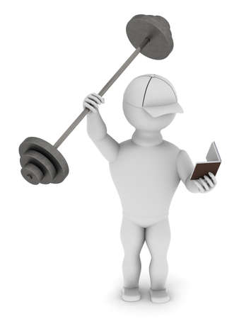tough man: white man holding barbell and reading a book on a white background