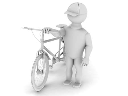 treadle: White man with a bicycle is walking on a white background