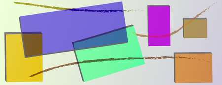 corporate buildings: colored boxes with colored stripes on gray background abstraction Illustration