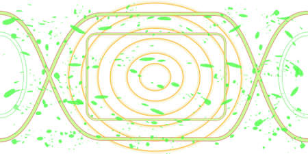 conduit: abstract gray tubes and green spots, on a white background Illustration