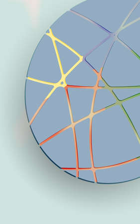 parametric: blue oval and colored stripes on a gray background, abstract vector illustration