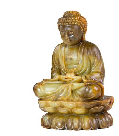 Jade Buddha meditation statue isolated Stock Photo