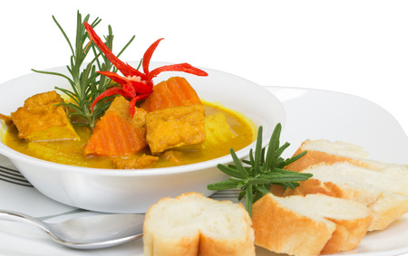 Delicious meatless tofu curry  A healthy and nutrition meal  Stock Photo