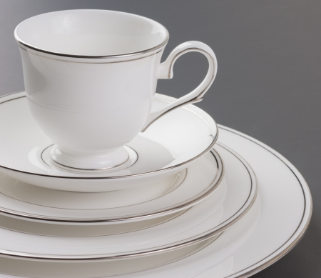 Dinner set of beautiful white, gold rim and cup