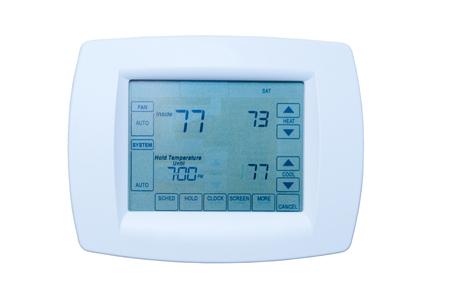 Programmeerbare digitale thermostaat op de energie-efficiëntie optimale instellingen 73 graden hitte, geïsoleerd 77 airconditioning Stockfoto