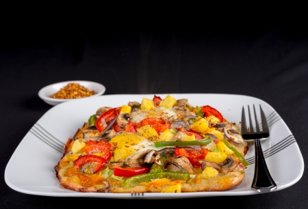Hot fresh vegetarian flatbread pizza with eggs