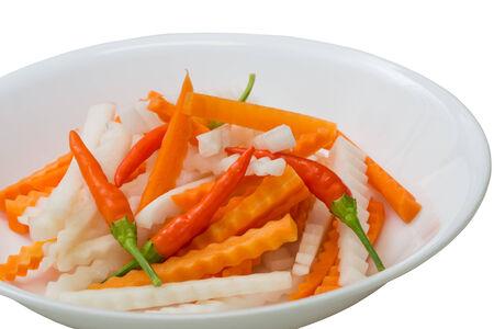 Hot fresh carrot, daikon, chili pepper pickled
