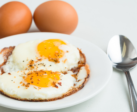 Fried eggs  Simple, delicious, healthy meal on white background