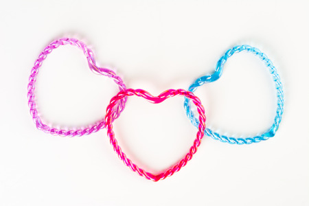Symbol of love  Hearts connecting together on white background Stock Photo - 23454962