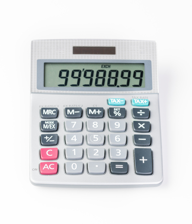 Solar calculator on white background