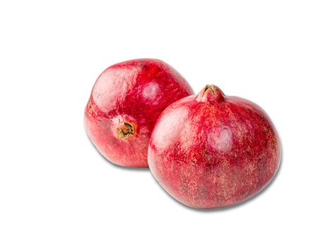 Fresh, ripe, organic pomegranate fruit isolated on white background Stock Photo