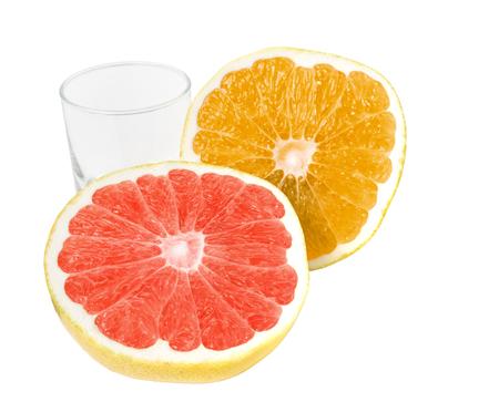 Fresh, ripe, organic tropical grapefruit isolated on white background