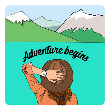 Adventure begins illustration with alps and female traveler Ilustrace
