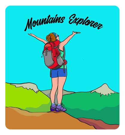 Randonneur fille Moutains explore Vecteurs