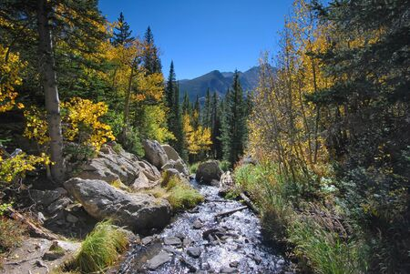 Blue Ridge Mountains: Mountain stream in Rocky Mountain National Park in Colorado Stock Photo