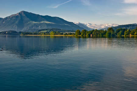 Lake Zug – beautiful lake in Swiss alps in Central Switzerland, situated between Lake Lucerne and Lake Zurich.