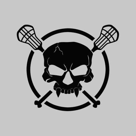 Lacrosse logo team with skull mascot illustration vector