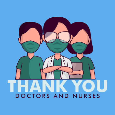Thank you doctors and nurses illustration vector