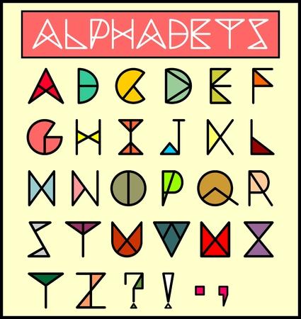 Geometric Style Colorful Alphabetsfont Illustration