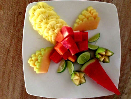 plater: Sliced of Fruit Plater Dessert Stock Photo
