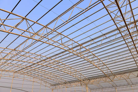 Steel structure workshop roof is under construction photo