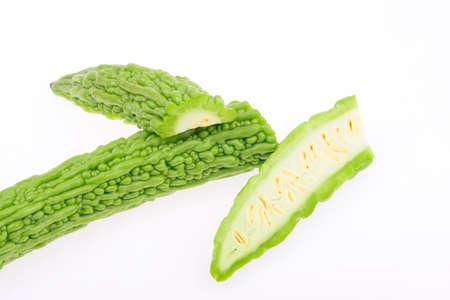 bitter melon: Bitter melon on a white background, close-up