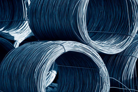 bundling: Rolled steel stacked together, close-up Stock Photo